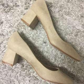 Zara Nude Suede Block heels