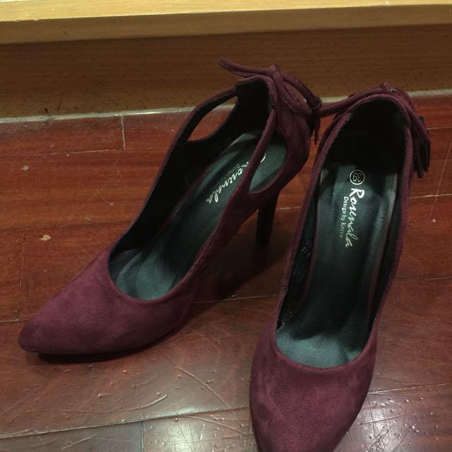 酒紅流蘇高跟鞋#五百元好女鞋