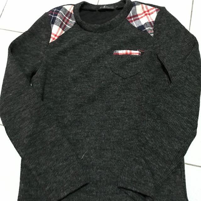 針織上衣造型上衣韓版上衣灰色上衣長袖上衣
