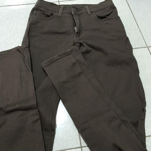 咖啡色牛仔褲窄版牛仔褲合身牛仔褲休閒褲素面