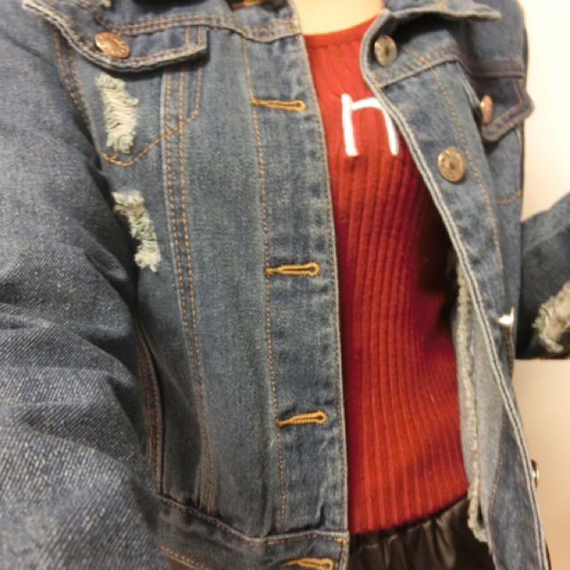 短版刷破牛仔薄外套#丹寧系列