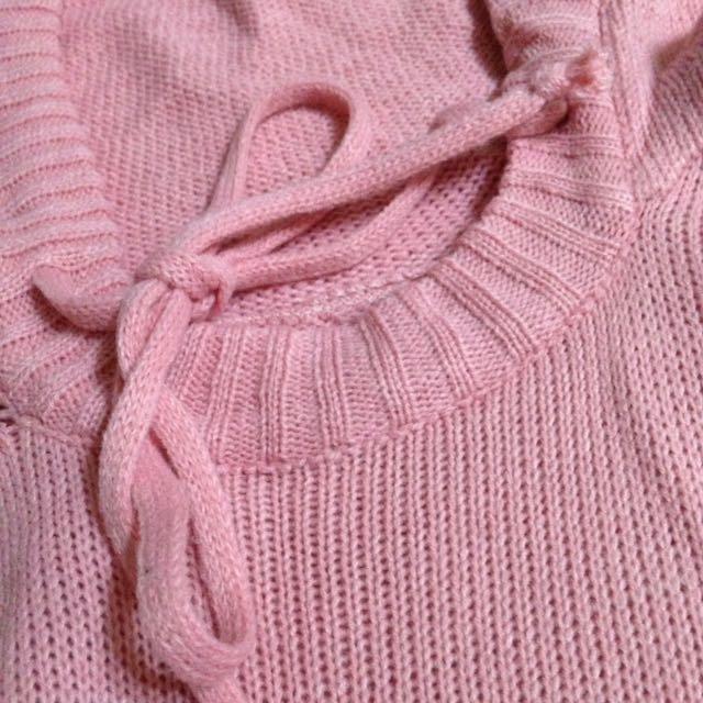 粉紅針織開衩連帽衣