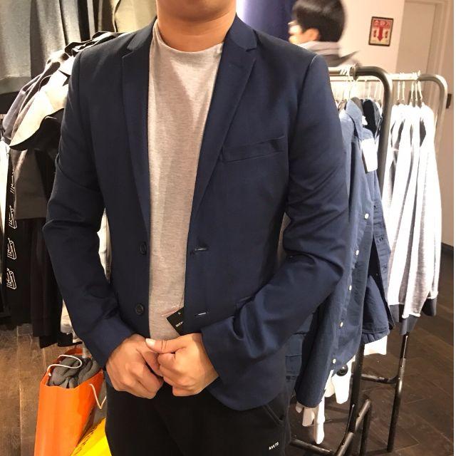 窄版韓國帶回藍色西裝外套 肩寬44