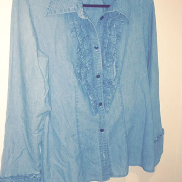 Blue Denim Ruffle Shirt