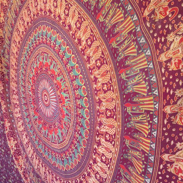 Bohemian Mandala Wall Hanging or Bed Sheet - Hand printed in India