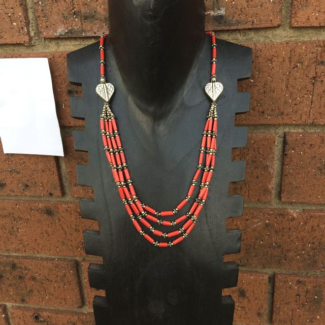 Boho Layered Coral Bead And Silver Necklace