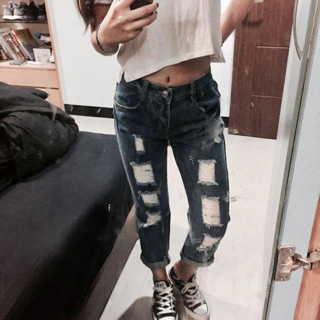 刷破boyfriend Jeans