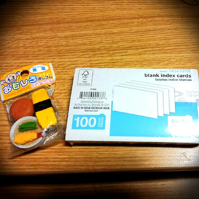 Brand New And Unopened Index Cards And Erasers