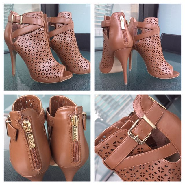 Brand New Guess Peep Toe Booties Tan Gold Buckle & Zip Heels 9 from Hawaii