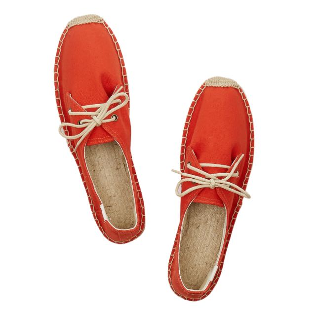 Brand New Soludos Canvas Espadrilles Orange US6