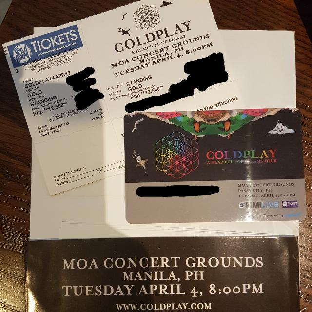 Coldplay Gold Concert Ticket