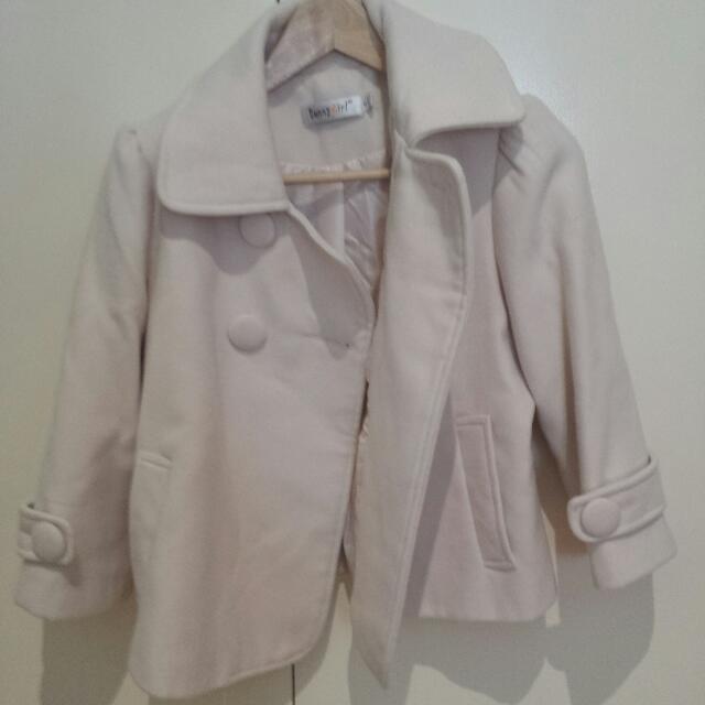 Cream Wool Crop Jacket Size 10