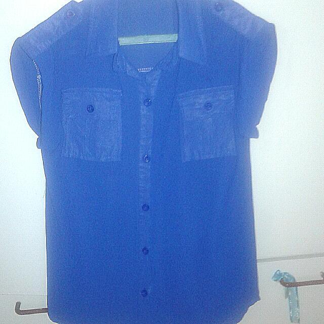 Dark Blue Formal Short Sleeved Button Up Blouse