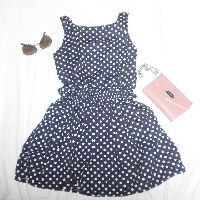 Dark blue white-dotted dress