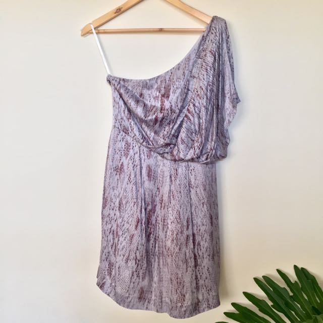 Ever New One-shoulder Snakeskin Silk Dress