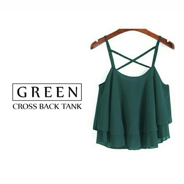 F21 Forever 21 Green Halter Crossbank Tank Top