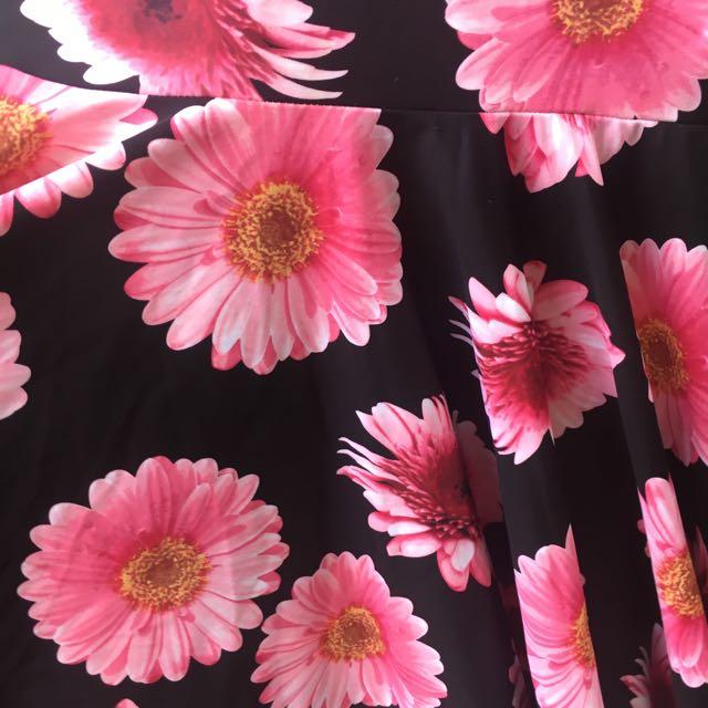 Floral Screen Printed Lycra Flowy Mini Dress Festival