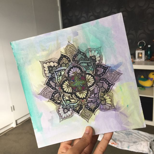 Handmade Mandala- Cardboard Canvas