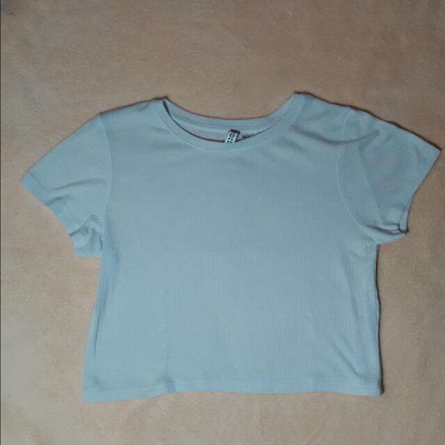 H&M Divided Basic White Cropped Top