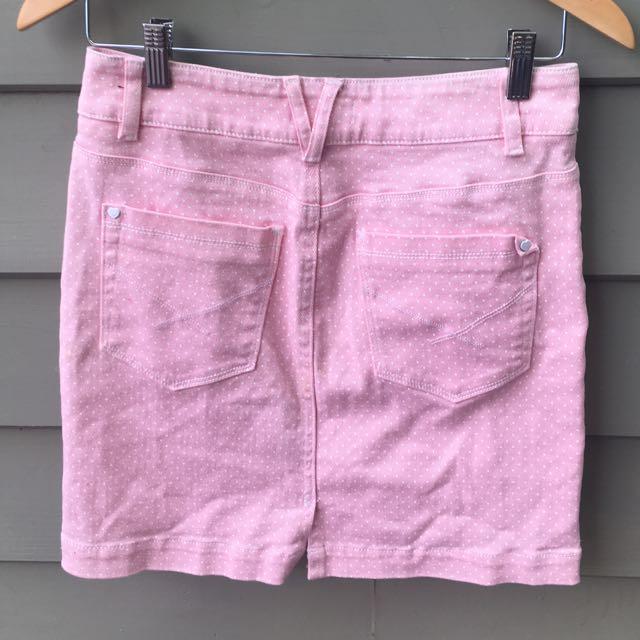 Insight Denim Pink Polka Dot Skirt