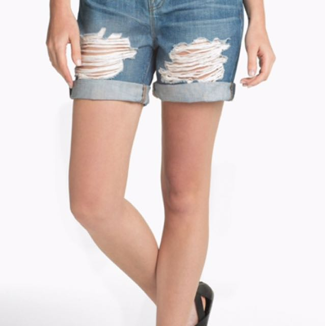 J Brand Nash Ripped Denim Shorts Size 28