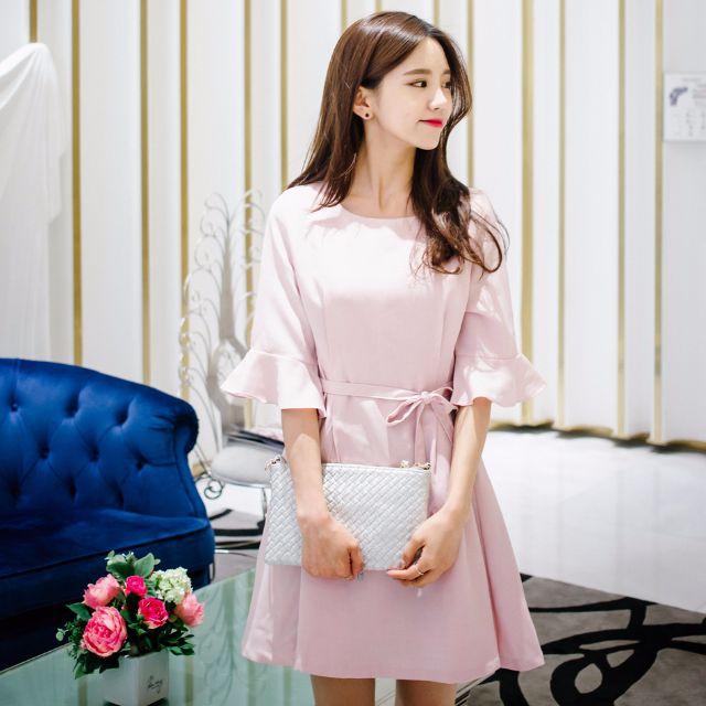 Korean brand mixxmix lovely sweet pink dress