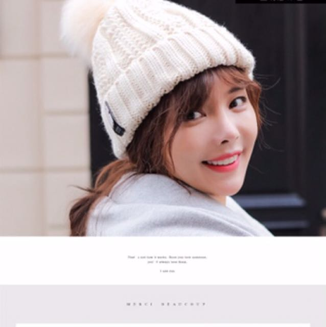 65bee6aff6 Korean winter hat wool knitted with ribbon ball