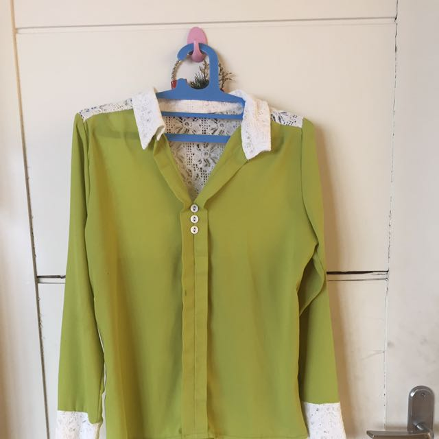 Lime Green Shirt With Lace