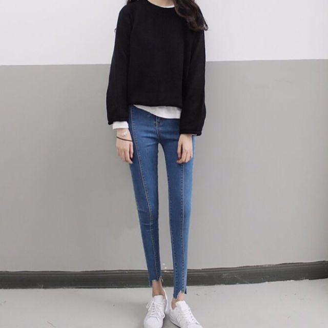 Muses時尚百搭❤中線造型九分小腳牛仔褲(二色)