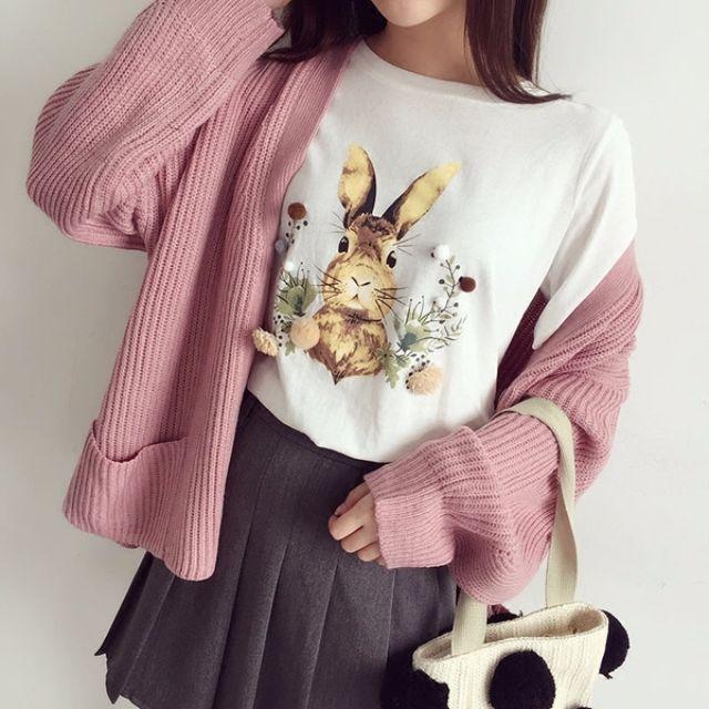 Muses春季新品❤立體裝飾兔子印花圓領上衣(三色)