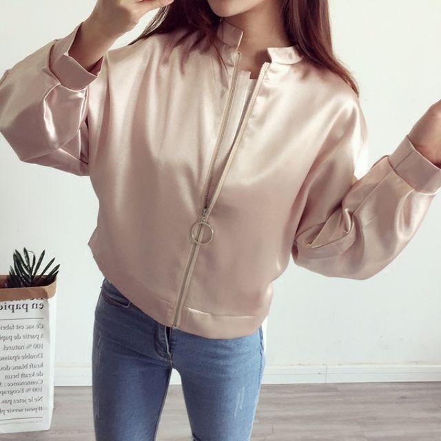 Muses韓版質感❤寬鬆立領光澤棒球外套(三色)