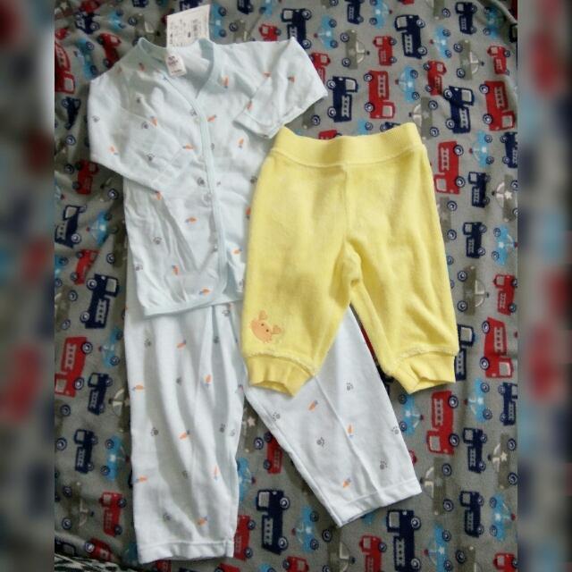 Baby Pajama Terno  9-12 Mos. (Never Use)  Pajama Yellow 0-3 Mos. (Twice Lang Nagamit)