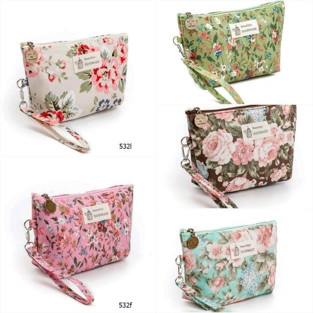 New Vintage Fl Printed Cosmetic Bag