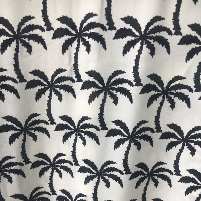 Palm Tree Black And White Blouse