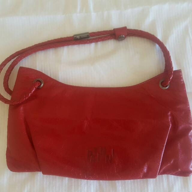 Red 100% Leather Pantini Bag