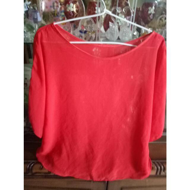 Red Blouse Chiffon