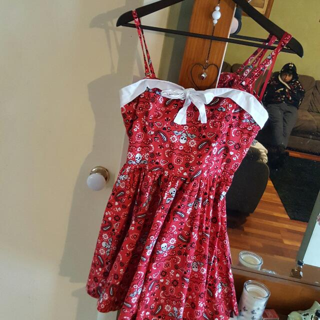 Red Pinup Styled Dress With Sugar skulls Design