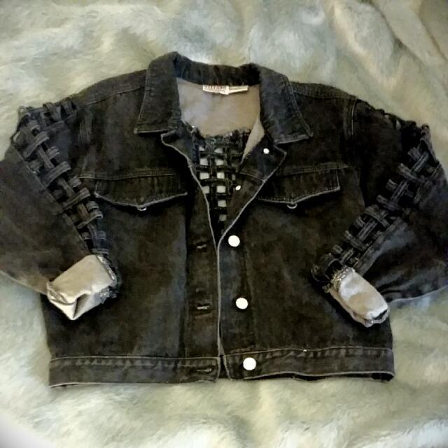 Retro Cut Out Black Denim Jacket