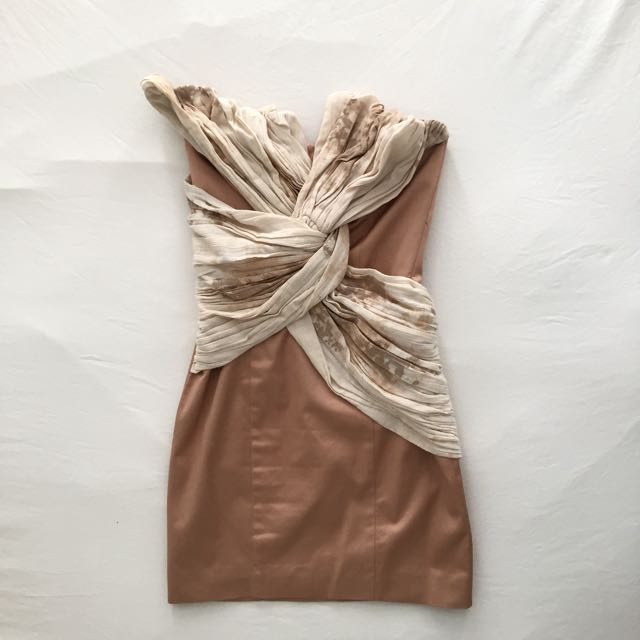 XS Sass And Bide Rose Gold Structured Mini Dress