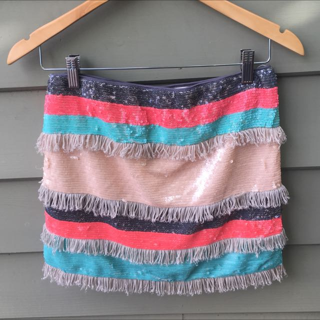 Sequin Tassel Mini Skirt Festival