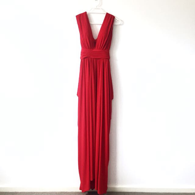 XS Sheike Full Length Red Backless Dress