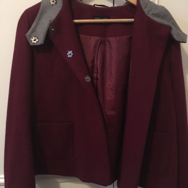 Size 10 Topshop Red Hooded Coat