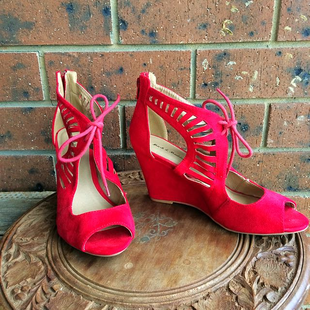 Size 8 Vegan Suede Hot Red Wedges