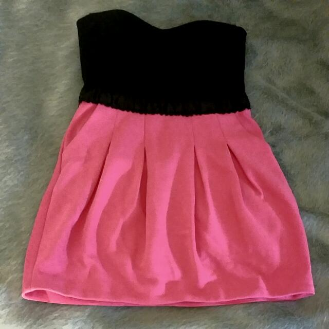 Strapless Pink And Black Dress