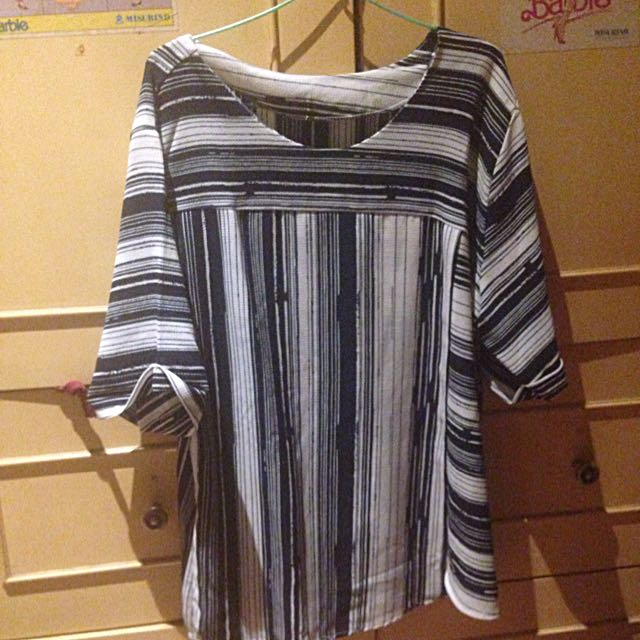 Stripes Navy White Blouse Shirt
