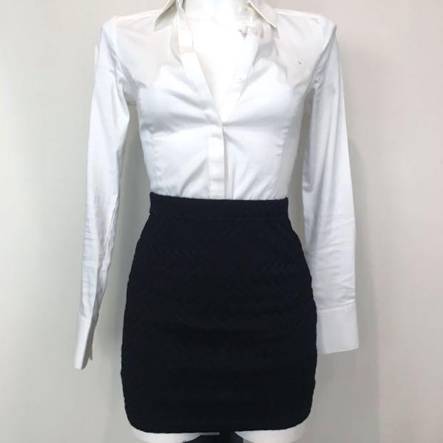 Textured Black Skirt