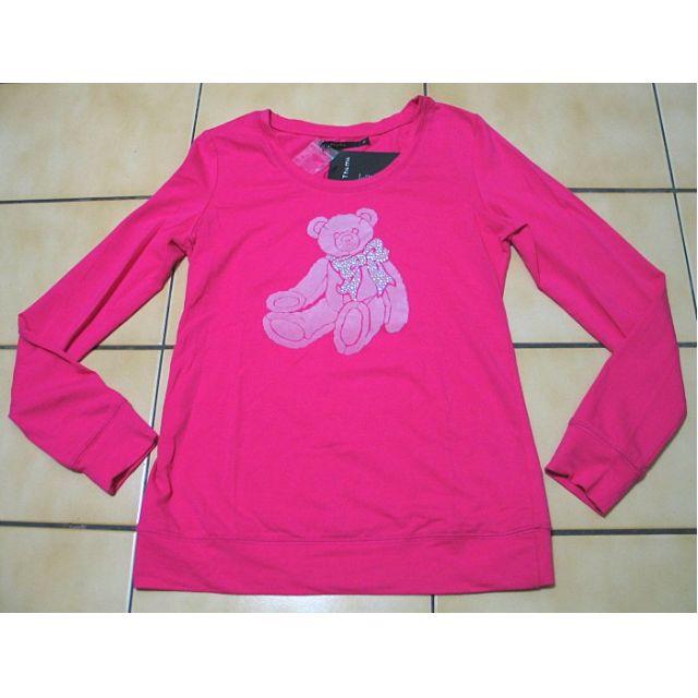 THEME全新有吊牌36號,蜜桃紅色+熊熊圖案,水鑽蝴蝶結,長袖上衣