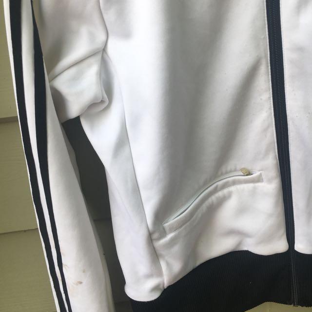 Vintage Adidas Jacket White And Black