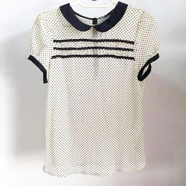 Zara Sheer Polka Dot Blouse