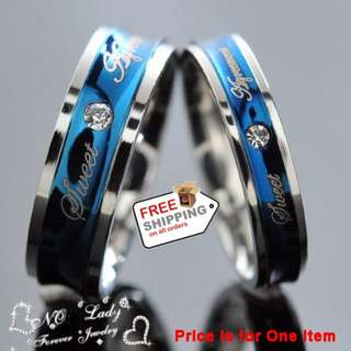 1pcs His and Hers Promise Blue Love Couple Ring Wedding Engagement Jewelry